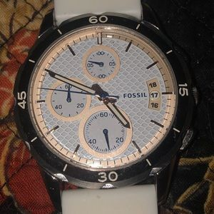 White Silicon Fossil Watch